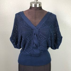 NWT Takeout Navy Batwing Open Knit Crochet Sweater